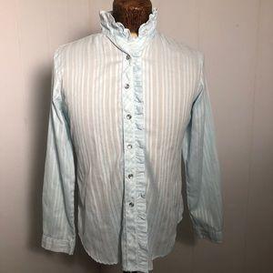 Womens Aqua/Ruffles Shirt/Blouse. Size 14